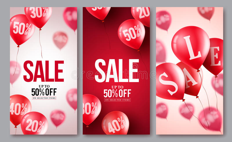 Sale vector balloons poster set. Collections of flying balloons with 50 percent off royalty free illustration