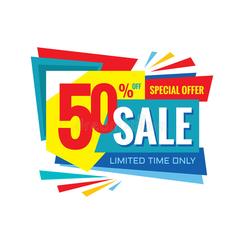 Sale vector banner design - discount 50% off. Special offer origami layout. Limited time only vector illustration
