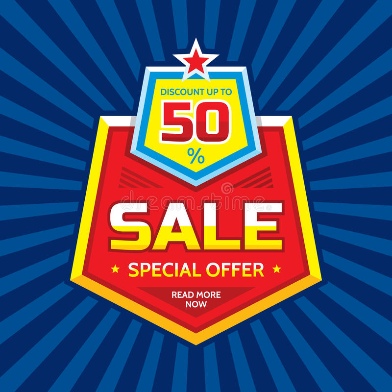 Sale vector banner - discount up to 50%. Special offer concept layout. Read more now. Creative badge design vector illustration