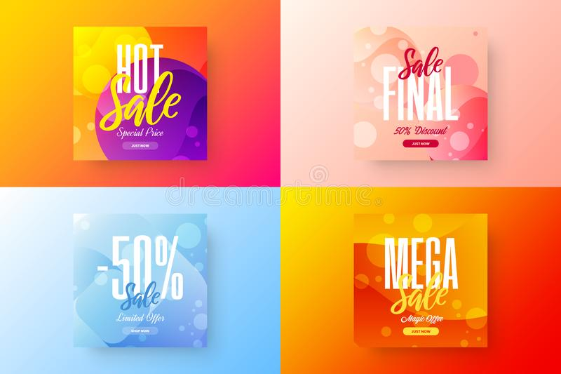Sale vector banner template bundle. Special offer discount social media illustration layout set. Advertising shopping design. Exclusive abstract sale vector vector illustration