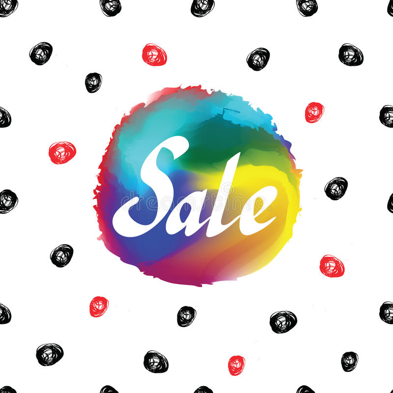 Sale vector text. On the colorful circle background. Seamless pattern stock illustration