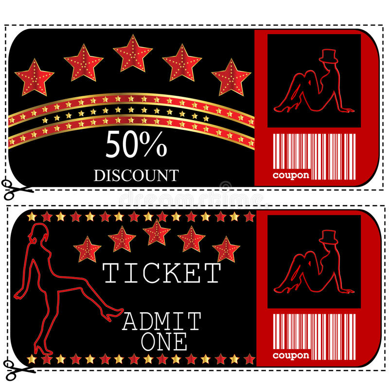 Sale voucher and ticket for night club or casino vector illustration