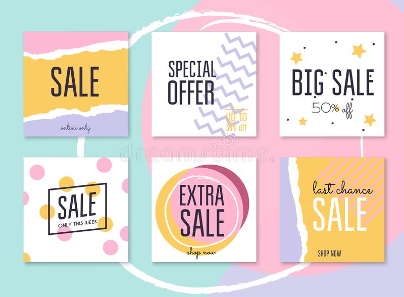 Sale website banners web template collection. Can be used for mo royalty free illustration