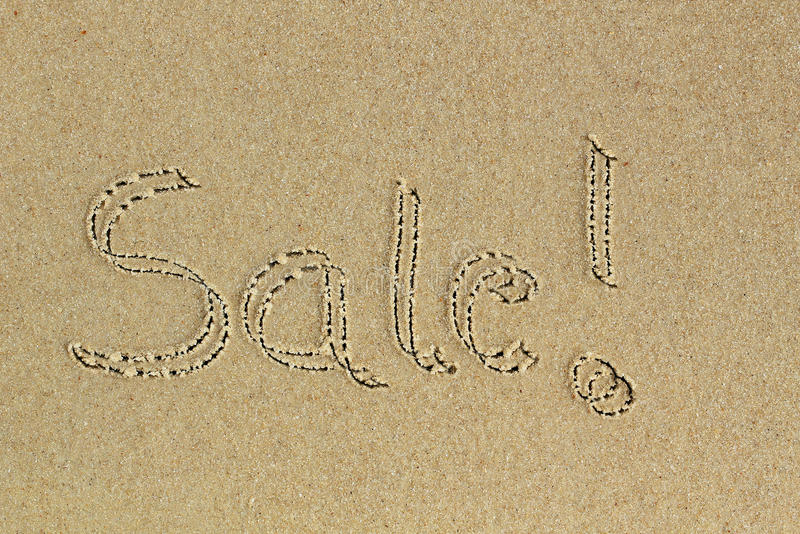 Download Sale Word Handwritten As Text On Sand In A Beach Stock Image - Image: 25347287