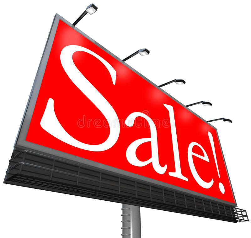 Sale Word Outdoor Advertising Billboard Clearance Special Price Royalty Free Stock Image