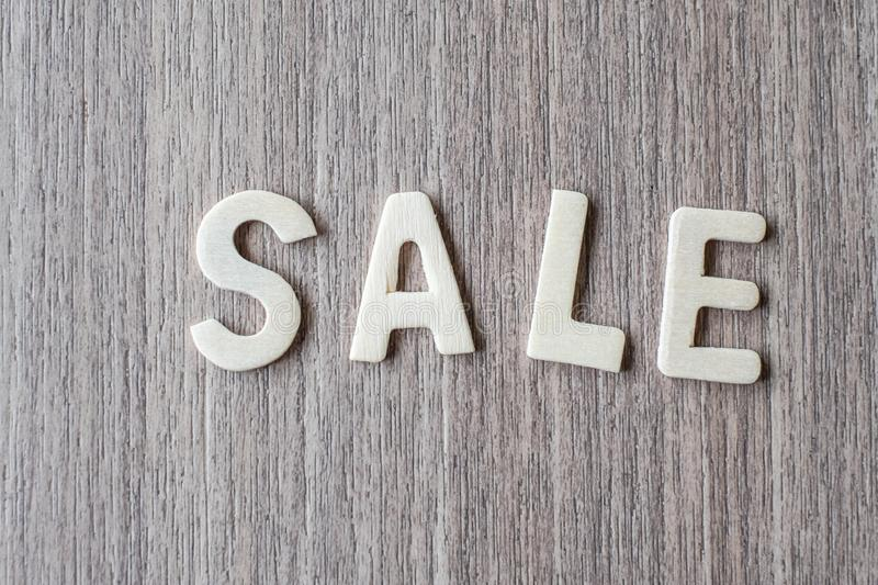 SALE word of wooden alphabet letters. Business and Idea. Concept royalty free stock images