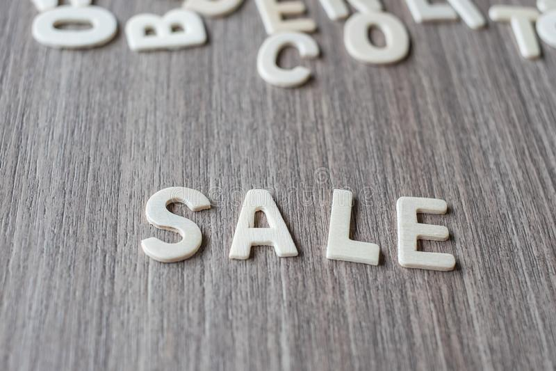 SALE word of wooden alphabet letters. Business and Idea. Concept royalty free stock photography