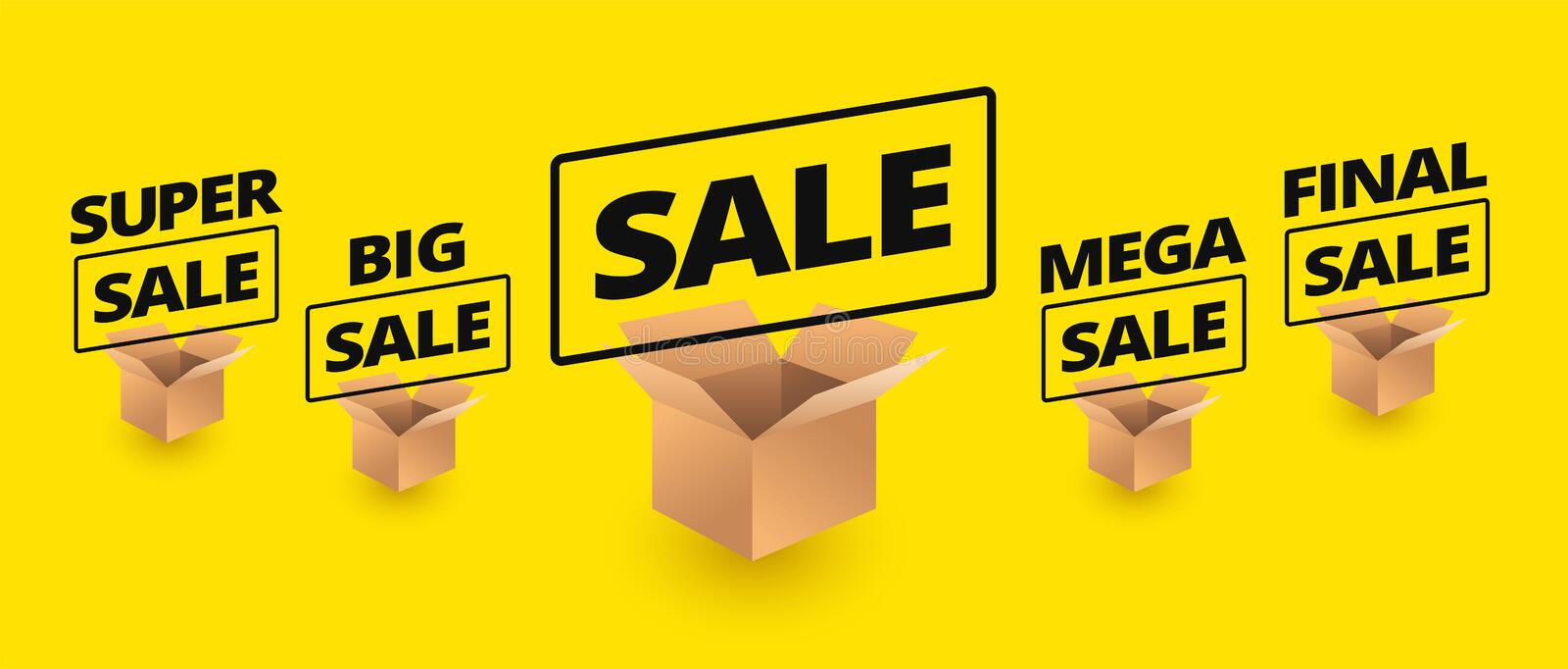 Sale yellow banner background - delivery cardboard boxes icons o. N yellow background - final sale, super, big, mega sale vector vector illustration