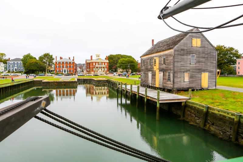 Salem harbor view from historic ship named Three-masted Friendship. Massachusetts stock image