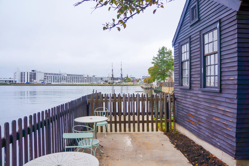 Salem harbor view from old house in Salem. MA stock image