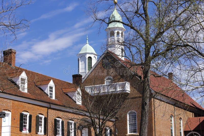 Salem Home Moravian Church anziano fotografia stock libera da diritti