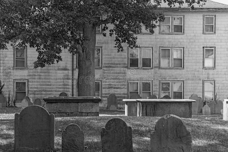 Salem Massachusetts Burying Point Cemetery arkivfoto