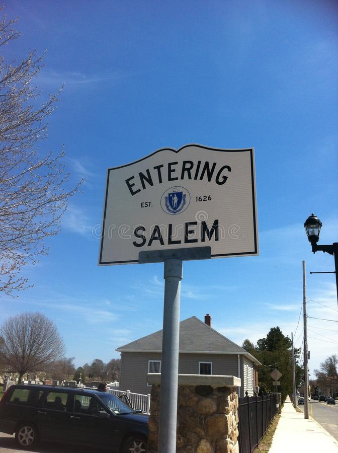 SALEM, MASSACHUSETTS. USA - OCTOBER 17, 2017. Town sign of Salem next to a cemetery stock photos