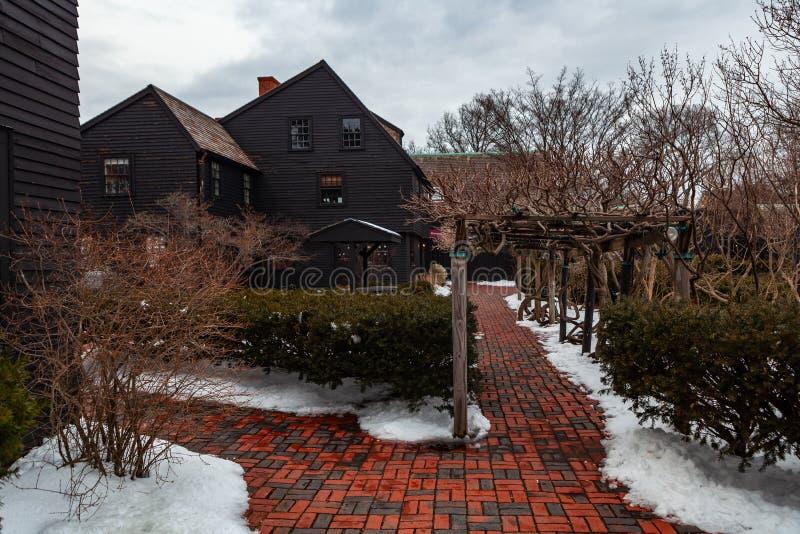 Salem, usa Marzec 03, 2019: Dom Siedem szczytów muzealnych w Salem, Massachusetts który inspirował powieść amerykaninem obrazy stock