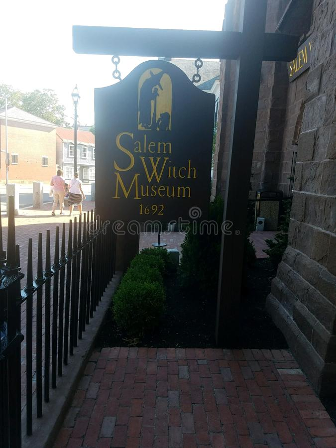 Salem Witch Museum Sign royaltyfri bild