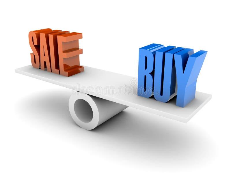 Salen och köp balanserar. stock illustrationer