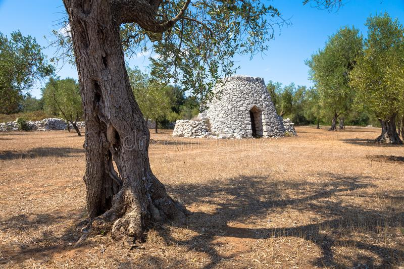 Puglia Region, Italy. Traditional warehouse made of stone. In Salento area, south of Italy, a traditional rural warehouse named Furnieddhu in local dialect. It`s stock photo