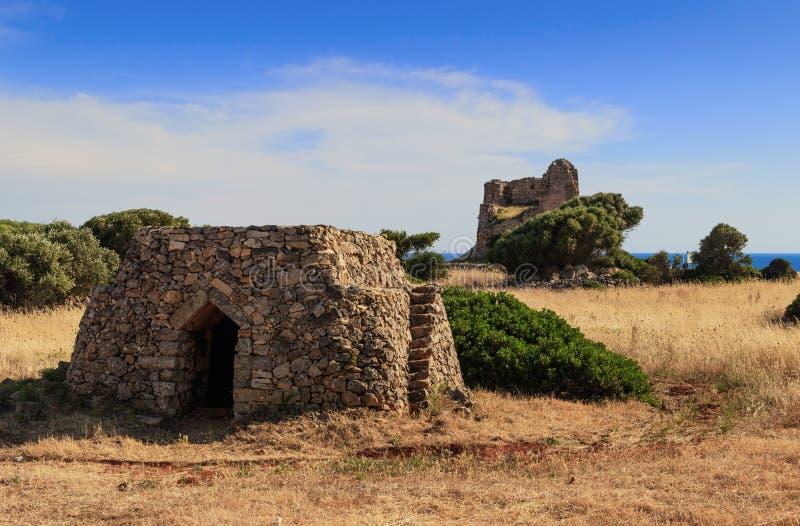 SALENTO krajobraz Trullo dom: w tła Uluzzo wieży obserwacyjnej Apulia, WŁOCHY zdjęcia stock