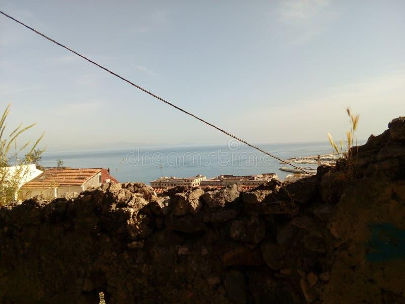 Salerno city mountains sea beauty high royalty free stock image
