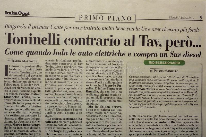SALERNO, ITALY - NOVEMBER 1, 2019: The page of ITALY TODAY an Italian legal, economic, political newspaper for an editorial. SALERNO, ITALY - NOVEMBER 1, 2019 stock photos