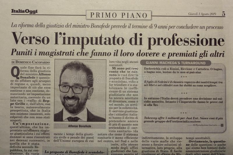 SALERNO, ITALY - NOVEMBER 1, 2019: The page of ITALY TODAY an Italian legal, economic, political newspaper for an editorial. SALERNO, ITALY - NOVEMBER 1, 2019 stock images