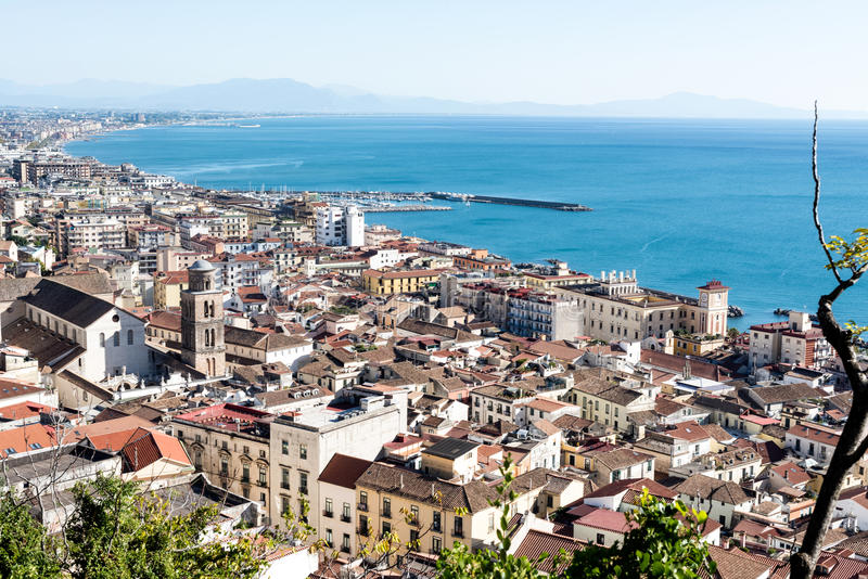 Salerno panorama - Italia arkivbild