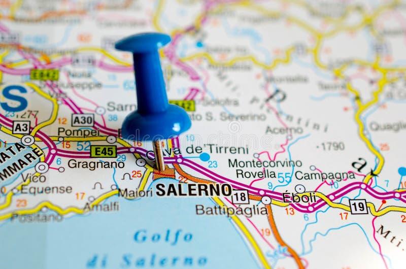 Salerno sulla mappa fotografia stock