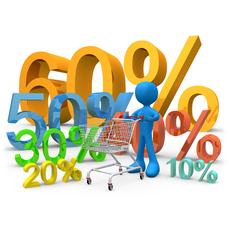 Sales. 3d person carrying a shopping cart through various 3d percentage signs