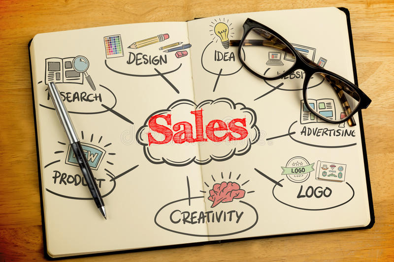 Sales against overhead of open notebook with pen and glasses stock photography