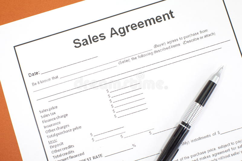 Sales Agreement stock photography
