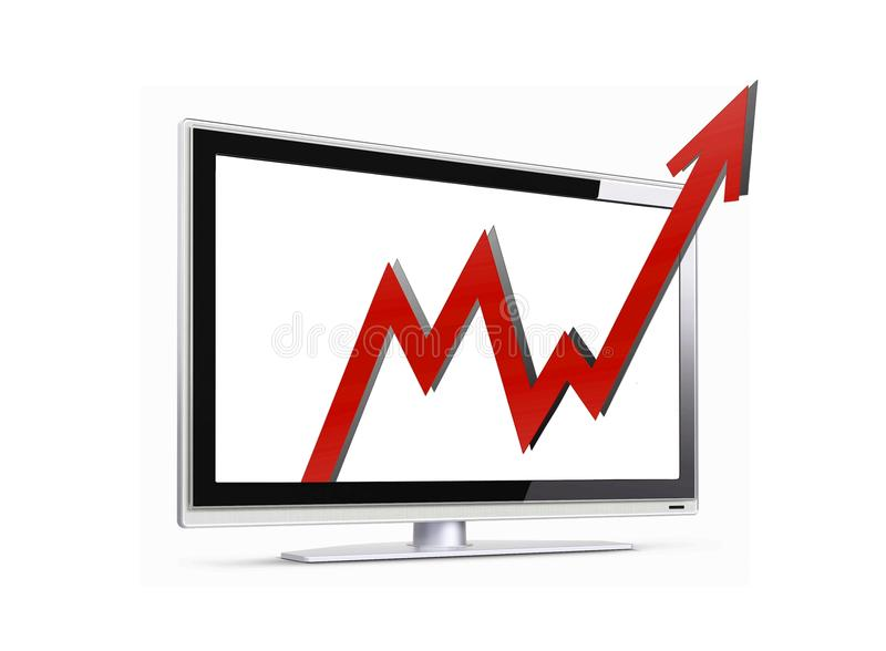 Sales arrow up. Image of sales arrow penetration LCD screen