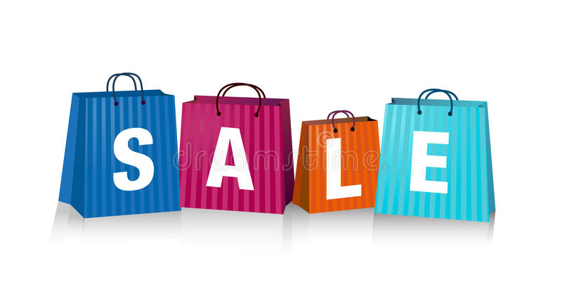 Sales Bags. Sales background with colorful shopping bags royalty free illustration