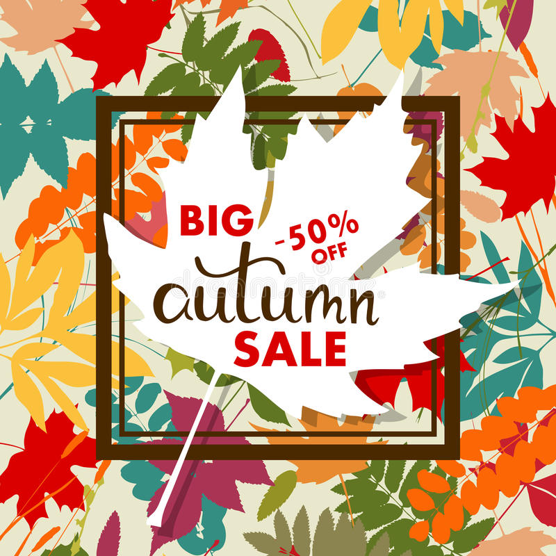 Sales banner with multicolor autumn leaves. Vector vector illustration