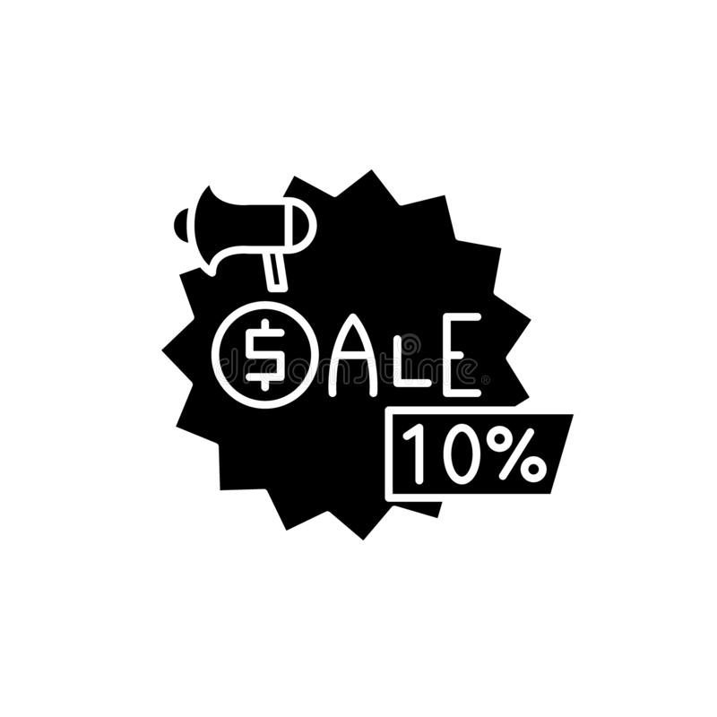 Sales black icon, vector sign on isolated background. Sales concept symbol, illustration royalty free illustration