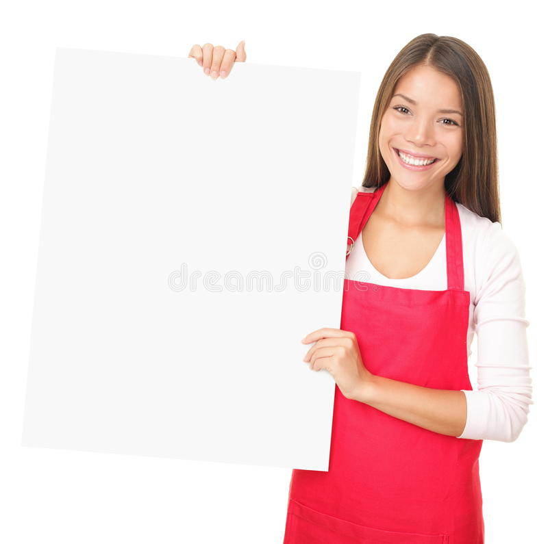 Download Sales Clerk Showing Blank Sign Stock Image - Image of apron, isolated: 17148185
