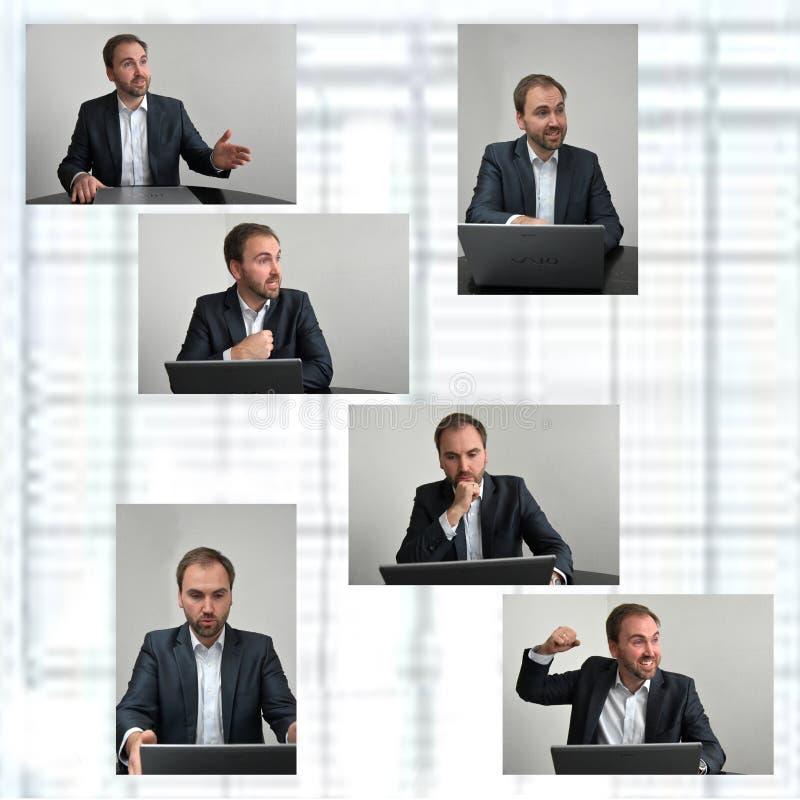 Sales conversation. Young businessman in sales conversation stock photo