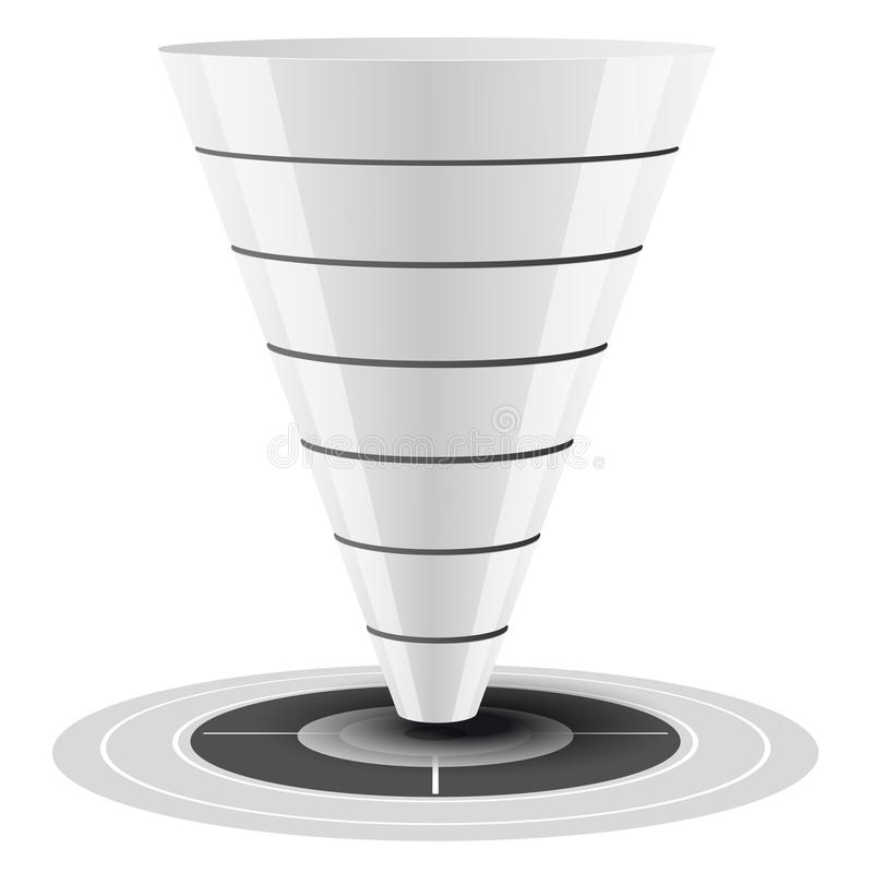 Sales or Conversion Funnel, Vector Graphics. Conversion or sales funnel easily customizable, from 1 to 7 levels plus on target, graphics. white and grey tones stock illustration