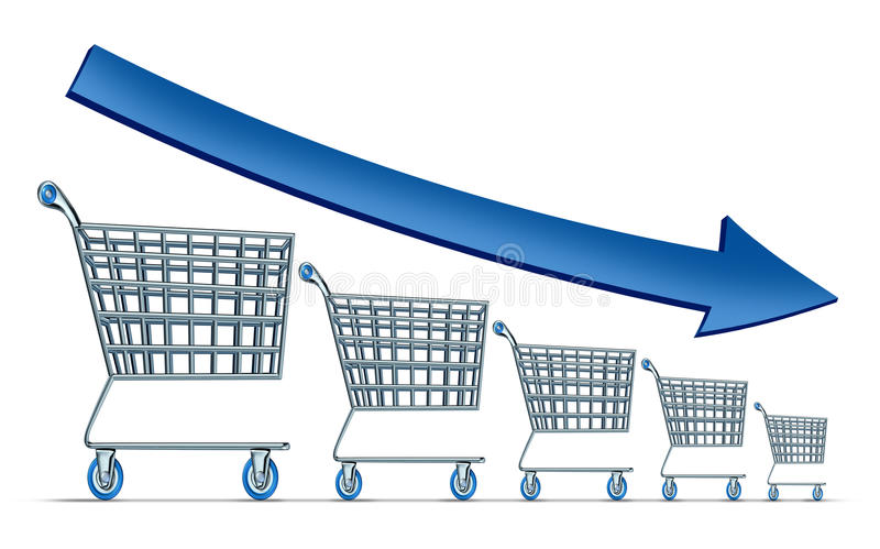 Sales Decline. Symbol as a group of shrinking shopping carts with a blue arrow going down as a metaphor for commercial retail consumerism on a white background vector illustration