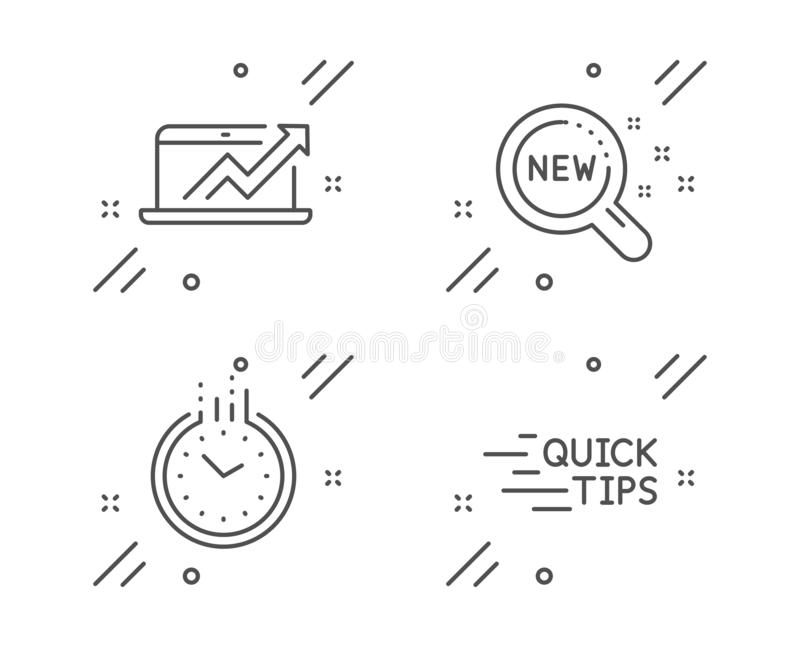 Sales diagram, New products and Time icons set. Education sign. Sale growth chart, Search, Clock. Quick tips. Vector. Sales diagram, New products and Time line stock illustration