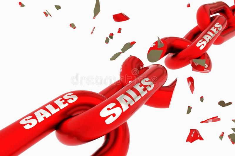 Sales discount prices broken red chain isolated - 3d rendering royalty free stock photos