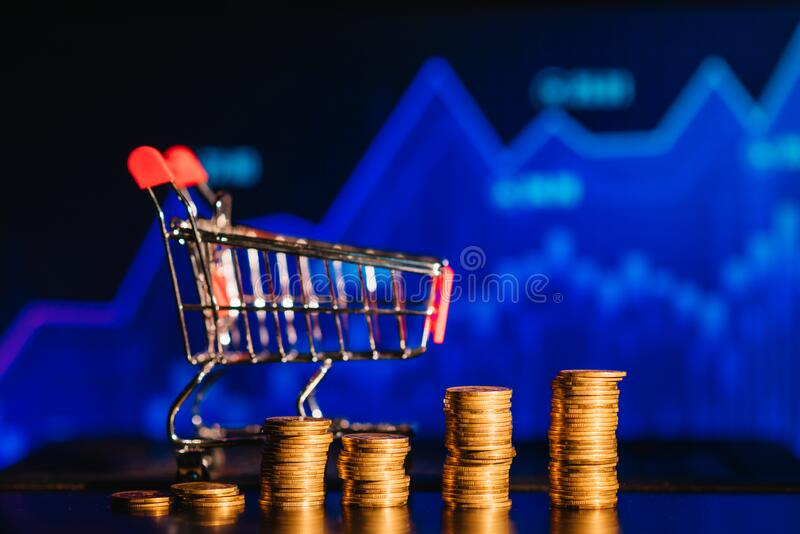 Sales dynamics and growth concept . Mixed media. dynamics of price growth.  stock images