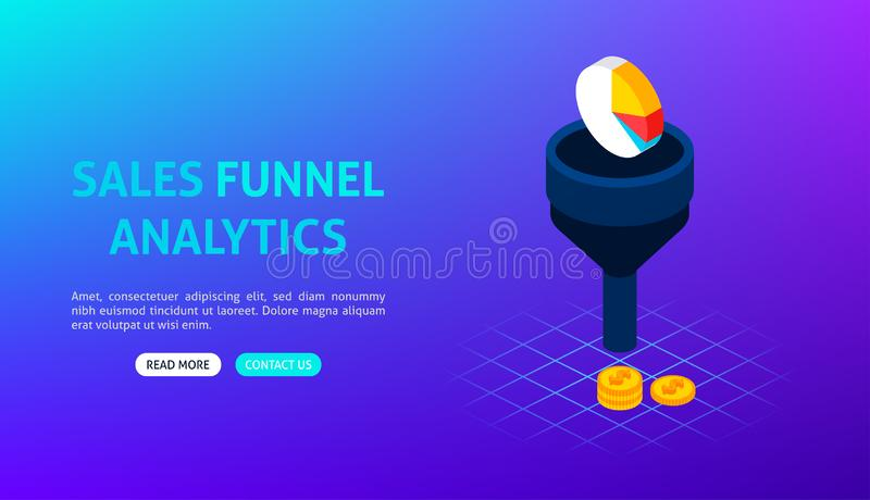 Sales Funnel Analytics Banner. Vector Illustration of Business Isometry royalty free illustration