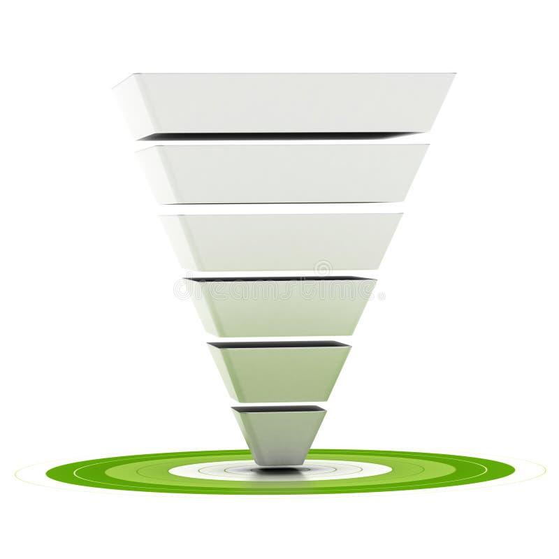 Sales funnel or conversion funnel stock illustration