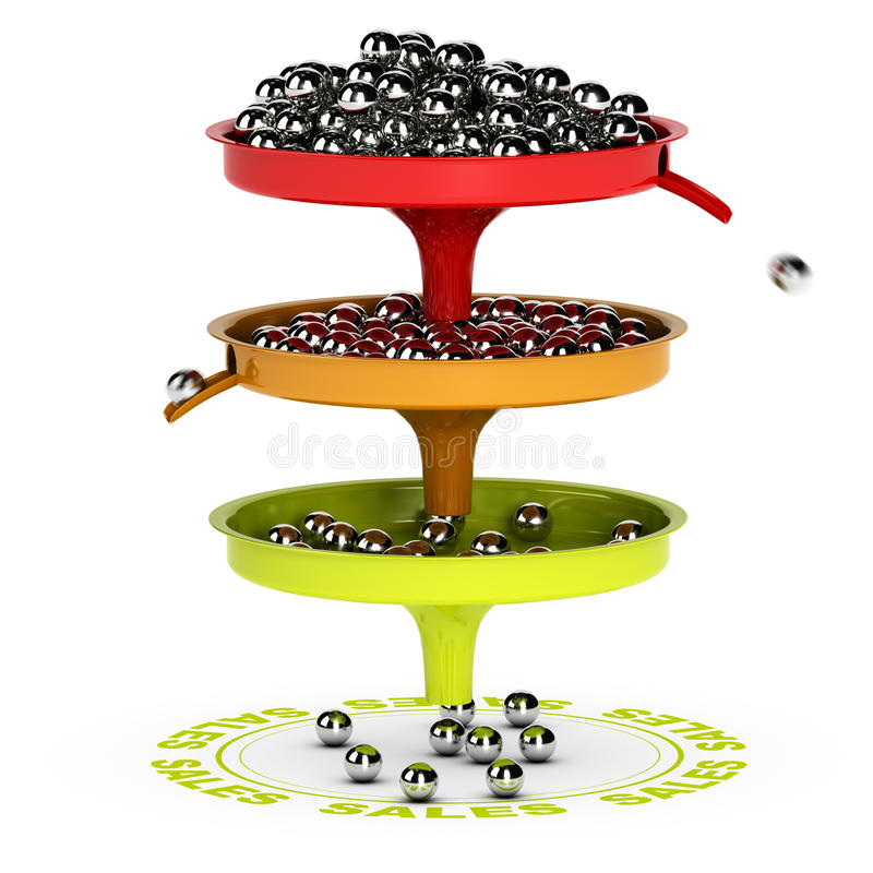 Sales Funnel, Ecommerce Conversion Rate vector illustration