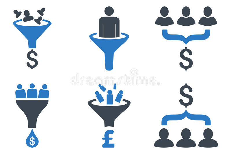Sales Funnel Flat Vector Icons vector illustration