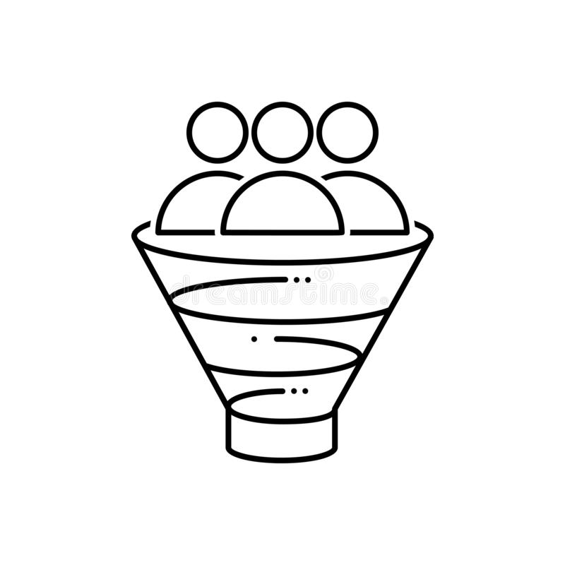 Black line icon for Sales Funnel, digital and marketing royalty free illustration