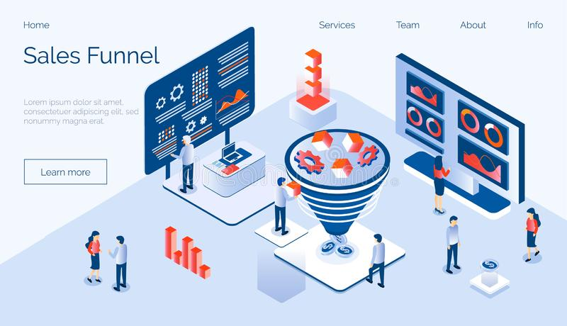 Sales funnel isometric concept vector with tiny people, diagram, coins, gears, cube stock illustration