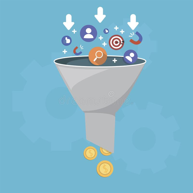 Sales funnel and lead generation, monetization of sales process, purchase funnel, is the visual representation of the stock illustration