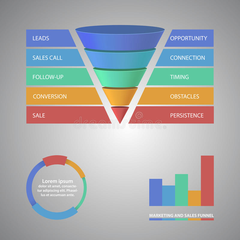 sales funnel template for your business stock vector illustration