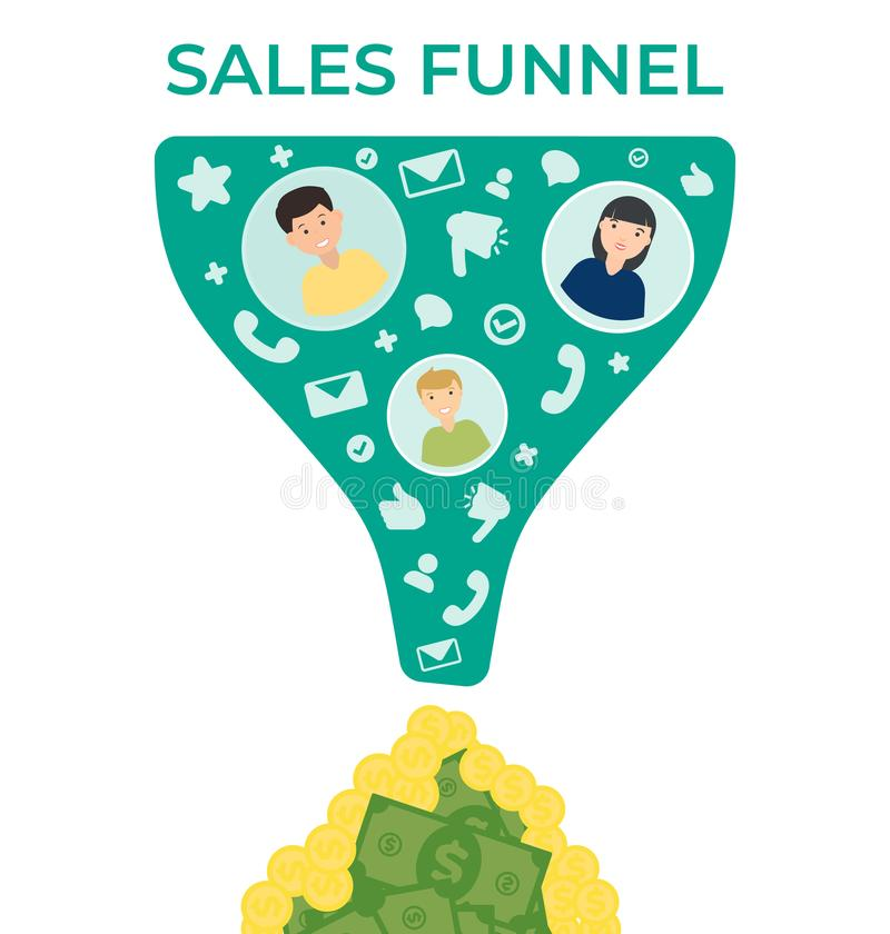 Sales funnel vector flat illustration stock photography